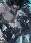 1boy 1girl ascot black_hair bracelet closed_mouth collared_shirt dark-skinned_male dark_skin dated fate/stay_night fate_(series) floating_hair frilled_skirt frills glowing glowing_eyes heracles_(fate) heterochromia highres illyasviel_von_einzbern jewelry large_pectorals long_hair long_sleeves looking_at_viewer muscular muscular_male open_mouth pectorals pink_neckwear purple_footwear purple_shirt red_eyes seyana shirt shirtless signature silver_hair sitting sitting_on_hand size_difference skirt sleeves_past_wrists teeth veins white_skirt yellow_eyes