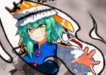 1girl blouse blue_vest flat_chest green_eyes green_hair long_sleeves qqqrinkappp shiki_eiki short_hair solo touhou traditional_media vest white_blouse wide_sleeves
