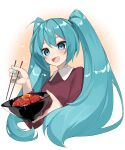 1girl :d absurdres aqua_nails bangs blue_eyes blue_hair blush bowl breasts chopsticks commentary_request cropped_torso egg eyebrows_behind_hair hatsune_miku highres holding holding_bowl holding_chopsticks long_hair long_sleeves looking_down nail_polish open_mouth purple_shirt reirou_(chokoonnpu) shirt simple_background small_breasts smile solo twintails upper_body vocaloid white_background wing_collar