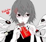 1boy 4others awara_kayu bangs black_shirt candy chocolate chocolate_bar commentary_request cookie cupcake food grey_background hair_between_eyes hair_ornament hairclip heart holding male_focus monochrome multiple_others open_mouth shirt short_hair simple_background solo spot_color suspenders suzuya_juuzou tokyo_ghoul tokyo_ghoul:re valentine x_hair_ornament
