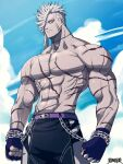 1boy abs bare_pectorals blazbluefairy chain character_request colored_skin dairoku_youhei fingerless_gloves gloves grey_skin large_pectorals looking_at_viewer male_focus male_swimwear mature_male medium_hair muscular muscular_male navel no_nipples official_art pectorals purple_belt scar scar_on_arm scar_on_cheek scar_on_chest scar_on_face scar_on_stomach sideburns sidecut solo spiky_hair stomach swim_trunks white_hair