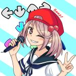 1girl arrow_(symbol) backwards_hat badge baseball_cap blue_neckwear blue_sailor_collar commentary_request grin hair_bobbles hair_ornament hat kantai_collection looking_at_viewer microphone neck_ribbon nemuou one_eye_closed pink_eyes pink_hair red_headwear ribbon sailor_collar sazanami_(kancolle) school_uniform serafuku short_hair smile solo striped striped_background twintails upper_body