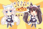 2girls :3 :d animal_ears apron arm_up azusa_(980650076) bangs bell black_hair black_legwear blue_eyes blunt_bangs cat_ears cat_girl cat_tail chibi chocola_(nekopara) commentary_request eyebrows_visible_through_hair food full_body lifted_by_self lifting long_hair looking_at_viewer low_twintails maid maid_apron maid_headdress multiple_girls nekopara omurice open_mouth orange_eyes plate short_sleeves sidelocks slit_pupils smile standing tail thigh-highs translation_request twintails vanilla_(nekopara) white_hair zettai_ryouiki