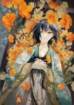 1girl bangs black_hair blue_kimono boat collarbone commentary_request cover cover_page ear_piercing earrings expressionless flower gold_trim grey_eyes hands_on_own_chest hands_together hibiscus highres japanese_clothes jewelry kimono looking_at_viewer lying medium_hair novel_cover obi on_back orange_flower original outdoors piercing plant print_kimono robe sakuramochi1003 sash solo tsurime vines water watercraft