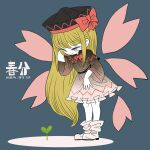 1girl blonde_hair boots bow bowtie fusion gradient_dress hat hat_ribbon lily_black lily_white long_hair petals red_ribbon ribbon solo sprout touhou white_footwear wide_sleeves yellow_eyes yt_(wai-tei)