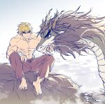 1boy abs absurdres animalization barefoot blonde_hair cliff clouds dragon forked_eyebrows full_body highres ken_masters looking_at_another male_focus muscular muscular_male navel nipples pectorals petting ryu_(street_fighter) shirtless short_hair sideburns smile stomach street_fighter thick_eyebrows yuiofire