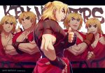 1boy age_progression black_shirt blonde_hair crossed_arms dougi forked_eyebrows headband ken_masters looking_at_viewer male_cleavage male_focus mature_male medium_hair muscular muscular_male older pectorals red_shirt shirt short_hair sleeveless sleeveless_shirt street_fighter taut_clothes taut_shirt thick_eyebrows thumbs_up torn_clothes torn_shirt yuiofire