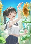 1girl ao+beni arm_up artist_name bangs belly blue_skirt blue_sky blush brown_hair candy closed_eyes commentary flower food happy highres holding holding_candy holding_food ice_cream leaf medium_hair navel open_mouth original ponytail shirt skirt sky smile solo standing sunflower white_shirt