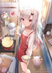 1girl apron bangs blunt_bangs blurry commentary_request depth_of_field eyebrows_visible_through_hair from_above heart holding holding_ladle hololive horns kananote kitchen ladle long_hair long_sleeves looking_at_viewer looking_up multicolored_hair nakiri_ayame oni_horns plate pot poyoyo_(nakiri_ayame) red_eyes shirt sidelocks silver_hair smile spoken_heart streaked_hair sunlight two-tone_hair virtual_youtuber white_shirt wooden_floor