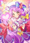 1girl bangs bow brown_eyes coral cure_coral dress facial_mark fingerless_gloves fingers_together gloves hair_bow hat hat_bow heart kawanobe long_hair parted_bangs precure purple_dress purple_hair red_bow sailor_hat smile solo suzumura_sango tropical-rouge!_precure very_long_hair white_gloves yellow_bow