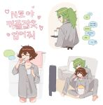 2boys :i alternate_costume barefoot brown_hair brushing_teeth buttons closed_eyes closed_mouth collarbone couch cup grey_shirt heart highres hilbert_(pokemon) holding holding_cup korean_text male_focus mug multiple_boys n_(pokemon) p_(flavorppp) pokemon pokemon_(game) pokemon_bw ponytail shiny shiny_hair shirt short_hair sitting soles spread_legs tied_hair toes