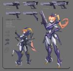 1girl bullet character_sheet commentary_request cyborg english_text extra_arms full_body grey_background gun hand_on_hip handgun headgear highres holding holding_gun holding_weapon joints long_hair looking_at_viewer magazine_(weapon) mechanical_arms mixed-language_commentary orange_eyes orange_hair original ponytail robot_joints science_fiction standing ushas very_long_hair weapon wheel