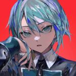 1girl aqua_eyes aqua_hair aqua_nails bangs black_clothes character_request copyright_request hand_on_own_cheek hand_on_own_face highres looking_at_viewer nail_polish necktie open_mouth red_background short_hair simple_background skyn_blue solo standing upper_body