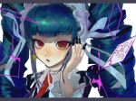 1girl absurdres alternate_hair_color bangs black_nails blunt_bangs blush bonnet border card celestia_ludenberg dangan_ronpa:_trigger_happy_havoc dangan_ronpa_(series) drill_hair earrings eyebrows_visible_through_hair fingernails green_hair hand_up highres jewelry joker_(card) letterboxed lolita_fashion long_hair long_sleeves looking_at_viewer necktie open_mouth playing_card portrait red_eyes red_neckwear ribbon sharp_fingernails sidelocks sketch solo tama_rick twin_drills twintails