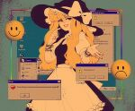1girl apron artist_name black_dress blonde_hair bow bracelet desktop dress english_text finger_to_face framed frilled_apron frilled_dress frills frown glitch hat hat_bow heart highres icons jewelry kirisame_marisa linmiee long_hair puffy_sleeves short_hair short_sleeves skirt smile smiley_face touhou vaporwave waist_apron white_bow window_(computing) windows_95 witch_hat