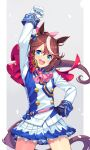 1girl :d animal_ears asymmetrical_gloves blue_eyes blue_gloves brown_hair capelet character_request cowboy_shot gloves grey_background hand_on_hip hand_up highres horse_ears horse_tail idol itou_(onsoku_tassha) jacket long_sleeves miniskirt mismatched_gloves multicolored_hair open_mouth pleated_skirt ponytail red_capelet round_teeth skirt smile solo standing streaked_hair sweat tail teeth umamusume upper_teeth v-shaped_eyebrows white_gloves