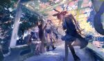 3girls absurdres amiya_(arknights) animal_ears anklet arknights bangs black_hair blaze_(arknights) blue_eyes book boots brown_hair cat_ears cat_girl cat_tail cloak closed_eyes finger_to_mouth fingerless_gloves gloves highres hood hood_down hooded_cloak hooded_jacket infection_monitor_(arknights) jacket jewelry leaning_on_object long_hair min_(120716) multiple_girls pantyhose parted_lips ponytail rabbit_ears rabbit_girl rosmontis_(arknights) silver_hair sitting sleeping sleeping_upright symbol-only_commentary tail thigh_strap waving