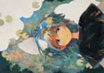1boy afloat black_shirt blue_hair from_above green_eyes green_hair highres ka_(marukogedago) lily_pad looking_at_viewer multicolored_hair original parted_lips reflection ripples shirt short_hair short_sleeves solo upper_body