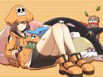 1girl absurdres anchor ass bike_shorts dolphin guilty_gear guilty_gear_strive hat highres hood hoodie may_(guilty_gear) orange_background orange_footwear orange_headwear orange_hoodie orange_shirt otter pirate_hat ponkotsu robot shirt sitting skull_and_crossbones solo striped striped_background thighs
