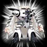black_background claw_(weapon) conte_di_cavour_(kancolle) full_body grey_hair gundam highres kantai_collection kapool long_hair mecha pun standing tk8d32 turn_a_gundam two-tone_background very_long_hair weapon white_background