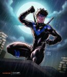 1boy black_bodysuit black_gloves black_hair bodysuit clouds dc_comics domino_mask full_moon gloves highres holding holding_weapon male_focus mask moon moonlight muscular muscular_male night night_sky nightwing outdoors rain short_hair skin_tight sky solo spiky_hair squatting thick_thighs thighs water_drop watermark weapon yeiko_art