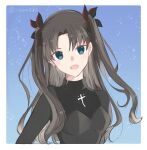 1girl :d bangs black_bow black_shirt blue_background blue_eyes border bow breasts brown_hair fate/extra fate/extra_ccc fate/stay_night fate_(series) hair_between_eyes hair_bow hair_intakes highres long_hair looking_at_viewer open_mouth otamu33 shiny shiny_hair shirt small_breasts smile solo tohsaka_rin upper_body very_long_hair white_border