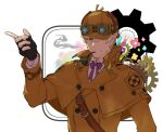 1boy black_gloves blonde_hair blue_eyes brown_capelet brown_headwear brown_jacket capelet dai_gyakuten_saiban fingerless_gloves gears gloves goggles goggles_on_headwear gyakuten_saiban hand_up hat jacket long_sleeves looking_at_viewer male_focus mikami mouth_hold neck_ribbon pipe_in_mouth purple_ribbon ribbon sherlock_holmes_(gyakuten_saiban) short_hair simple_background smile smoking solo upper_body vial white_background