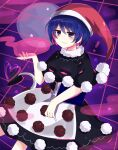 ! 1girl :3 absurdres black_dress blue_eyes blue_hair blush book breasts capelet doremy_sweet dream_soul dream_world_(touhou) dress eyebrows_visible_through_hair hair_between_eyes hat heart highres large_breasts one-hour_drawing_challenge pom_pom_(clothes) red_headwear smile solo star_(symbol) subaru_(subachoco) tail tapir_tail touhou