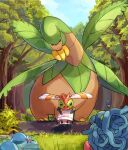 1girl banana beanie black_hair clouds commentary croagunk dawn_(pokemon) day food fruit gen_1_pokemon gen_2_pokemon gen_3_pokemon gen_4_pokemon grass grey_eyes hair_ornament hairclip hat looking_at_viewer mud on_head outdoors partially_submerged pokemon pokemon_(creature) pokemon_(game) pokemon_dppt pokemon_on_head ririmon sky tangela tree tropius water white_headwear wooper yanma