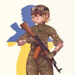 1girl absurdres ak-74 assault_rifle bangs blonde_hair blue_eyes camouflage camouflage_jacket camouflage_pants gloves goggles goggles_on_head green_gloves grin gun hair_between_eyes hat helmet highres holding holding_gun holding_weapon jacket kalashnikov_rifle looking_at_viewer military military_hat military_uniform open_mouth original pants rifle short_hair simple_background sleeves_rolled_up smile solo tattoo teeth trigger_discipline ukrainian_flag uniform v-shaped_eyebrows watch weapon willy_pete yellow_background