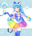1girl absurdres animal_ears arakawa_tarou black_choker blue_footwear blue_gloves blue_hair blue_jacket boots breasts cat_ears cat_tail choker closed_mouth cure_cosmo elbow_gloves floating_hair fur-trimmed_boots fur-trimmed_gloves fur_trim gloves hat_ornament highres jacket long_hair medium_breasts miniskirt multicolored multicolored_clothes multicolored_skirt precure prunce_(precure) shiny shiny_hair skirt sleeveless sleeveless_jacket smile solo standing star_(symbol) star_hat_ornament star_twinkle_precure tail thigh-highs thigh_boots very_long_hair yellow_eyes yuni_(precure)