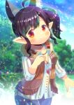 1girl ahoge animal_ear_fluff animal_ears bangs black_hair blue_pants blush brown_vest closed_mouth collarbone day earrings eyebrows_visible_through_hair final_fantasy final_fantasy_xiv fringe_trim hand_up jewelry kou_hiyoyo lalafell long_sleeves looking_at_viewer outdoors pants pointy_ears red_eyes shirt side_ponytail sidelocks smile solo vest white_shirt