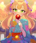 1girl blonde_hair blurry blush candy candy_apple collarbone covered_mouth depth_of_field eyebrows_visible_through_hair flower food glint green_eyes hair_flower hair_ornament highres holding holding_candy holding_food idolmaster idolmaster_cinderella_girls idolmaster_cinderella_girls_starlight_stage japanese_clothes jougasaki_rika kawahara_chisato kimono looking_at_viewer print_kimono solo summer_festival two_side_up upper_body