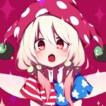 1girl alternate_hairstyle american_flag_shirt bangs clownpiece fairy_wings hair_bobbles hair_ornament hat jester_cap looking_at_viewer open_mouth polka_dot_headwear purple_headwear red_eyes shirt short_sleeves sidelocks simple_background solo star_(symbol) star_print striped striped_shirt touhou upper_body v-shaped_eyebrows white_hair wings you_(noanoamoemoe)