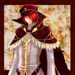 1boy bangs belt black_capelet black_headwear border brown_belt capelet closed_mouth commentary fur-trimmed_capelet fur_trim hair_between_eyes hair_over_one_eye hat high_collar high_wizard_(ragnarok_online) long_sleeves looking_at_viewer male_focus mit_(necomit) outside_border peaked_cap ragnarok_online red_border red_eyes redhead shirt short_hair solo upper_body white_shirt yellow_background