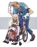1boy 1girl bag bag_over_head bandaged_arm bandaged_leg bandages blonde_hair cape clover covered_face faust_(guilty_gear) four-leaf_clover gloves guilty_gear guilty_gear_strive hat hat_removed headwear_removed highres paper_bag ramlethal_valentine stethoscope wheelchair white_cape