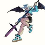 1girl absurdres bat_wings belly bird blue_eyes blue_sweater demon_girl eiki fingernails full_body highres holding holding_weapon horns long_fingernails looking_at_viewer nike original shoes short_hair shorts smile sneakers solo sparrow sweater weapon white_background white_hair wings