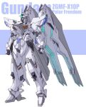 absurdres blue_eyes character_name clenched_hands freedom_gundam gundam gundam_seed highres looking_up mecha mobile_suit no_humans redesign science_fiction solo v-fin ztb0000