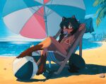 1girl absurdres animal_ears animal_nose arm_behind_head armpits artist_name ball beach beach_chair beach_umbrella beachball bikini black_hair blue_eyes blue_hair blue_sky blush body_fur brand_new_animal breasts clouds commentary cup day drinking_straw feet food food_in_mouth full_body furry furry_female highres holding huge_filesize kagemori_michiru looking_at_viewer melting michirutnk micro_bikini multicolored multicolored_eyes multicolored_hair ocean outdoors palm_tree pink_eyes popsicle raccoon_ears raccoon_girl raccoon_tail red_bikini sand shell sitting sky small_breasts solo sweat sweatdrop swimsuit tail tanuki towel tree two-tone_hair umbrella water