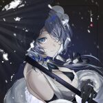 1girl arknights bangs bare_shoulders black_gloves black_umbrella blue_eyes blue_hair breasts commentary elbow_gloves eyepatch feather_boa gloves highres holding holding_umbrella large_breasts looking_at_viewer oil-paper_umbrella short_hair smile solo umbrella upper_body whisperain_(arknights) whisperain_(tremble_cold)_(arknights) yuuki_uyu