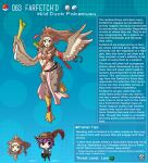1boy 1girl animal_feet animal_hands artist_name bird_legs blue_background breasts brown_eyes brown_feathers brown_hair brown_wings character_name character_profile commentary crop_top english_commentary english_text facial_mark farfetch'd feathered_wings feathers food gen_1_pokemon hair_ribbon harpy hat hat_feather heart heart-shaped_pupils highres holding holding_food jewelry kinkymation leek long_hair medium_breasts midriff monster_girl navel necklace open_mouth pelvic_curtain poke_ball poke_ball_(basic) pokemon ponytail purple_hair red_ribbon ribbon symbol-shaped_pupils very_long_hair webbed_feet winged_arms wings