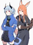 2girls animal_ear_fluff animal_ears arknights belt black_dress black_legwear black_shirt black_skirt blue_hair blue_jacket brown_gloves chinese_commentary closed_mouth commentary_request cowboy_shot crossed_legs dragon_horns dragon_tail dress elbow_gloves electricity eyebrows_visible_through_hair fox_ears fox_tail franka_(arknights) gloves green_scarf grey_background highres holding holding_sword holding_weapon horns id_card jacket liskarm_(arknights) long_hair long_sleeves looking_at_another multiple_girls ponytail red_eyes scarf shirt simple_background skirt smile sweatdrop sword tail thigh-highs weapon xiao_lu