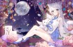 1girl animal_ears apple_caramel bangs beach blue_eyes blunt_bangs breasts bug butterfly candle commentary eyebrows_visible_through_hair flower fox_ears fox_girl fox_tail full_moon highres horizon insect korean_clothes kumiho kyuubi large_breasts long_hair long_sleeves looking_at_viewer moon multiple_tails night night_sky ocean original petals pleated_skirt seiza sidelocks sitting skirt sky solo star_(sky) starry_sky stuffed_animal stuffed_cat stuffed_toy symbol-only_commentary tail white_hair wooden_floor