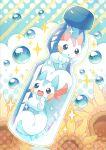 alternate_color blush bottle bubble commentary_request gen_4_pokemon in_bottle in_container jippe no_humans open_mouth pachirisu pokemon pokemon_(creature) shiny_pokemon sparkle tongue