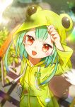 1girl :d adjusting_hood animal_print blurry blurry_background blush cloud_print fang frog_print frog_raincoat green_hair highres hololive hood koka12312 long_sleeves open_mouth red_eyes smile snail_print solo symbol-only_commentary upper_body uruha_rushia virtual_youtuber yellow_raincoat