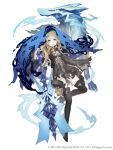 1girl alternate_eye_color black_dress blonde_hair blue_eyes boots corruption dress empty_eyes flat_chest frown full_body glowing glowing_eyes high_heel_boots high_heels ji_no lock long_hair looking_at_viewer official_art padlock red_riding_hood_(sinoalice) sinoalice solo spirit square_enix thigh-highs thigh_boots torn_clothes white_background wolf