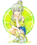 1girl absurdres blouse blue_nails blue_skirt bra bra_strap closed_mouth collarbone commentary_request dripping eyebrows_visible_through_hair food fruit full_body green_blouse green_legwear grey_hair hair_bun hair_ornament hairclip hand_on_own_chin highres huge_filesize kneehighs kusanagi_nene lime_(fruit) long_hair looking_at_viewer off-shoulder_shirt off_shoulder pjmiyo project_sekai shirt sidelocks simple_background skirt solo squatting strap_slip underwear violet_eyes white_background white_bra white_footwear