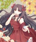 0825belle 1girl black_bow bow brown_hair choker closed_mouth collarbone dress earrings fate/grand_order fate_(series) floating_hair flower grey_background hair_bow hair_intakes highres ishtar_(fate)_(all) jewelry long_hair looking_at_viewer red_bow red_dress red_eyes red_flower red_ribbon red_rose ribbon ribbon_choker ring rose shiny shiny_hair sketch smile solo standing star_(symbol) star_earrings very_long_hair white_flower white_rose yellow_flower