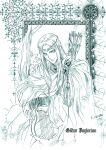 1boy arrow_(projectile) blue_theme cape circlet closed_mouth elf gildor harp highres holding holding_instrument instrument kazuki-mendou legendarium long_hair looking_at_viewer male_focus monochrome pointy_ears robe signature sitting smile solo the_lord_of_the_rings