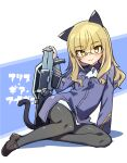 501st_joint_fighter_wing alice_gear_aegis animal_ears bangs black_legwear blonde_hair blue_background blunt_bangs cat cat_ears cat_tail eyebrows_visible_through_hair glasses highres looking_at_viewer military military_uniform panties panty_peek pantyhose perrine_h._clostermann sitting strike_witches stroma tail underwear uniform white_background world_witches_series yellow_eyes